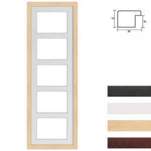 Cadre en bois avec passe-partout multiple à 5 ouvertures, 25x80 cm