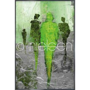 """Image encadrée """"Abstract Figures Green"""" avec cadre en aluminium Alpha"""