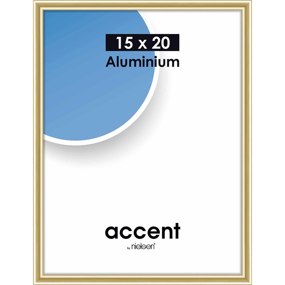 Cadre en aluminium Accent 15x20 cm | or brillant | verre normal