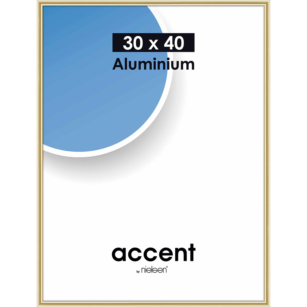 Cadre en aluminium Accent 30x40 cm | or brillant | verre normal