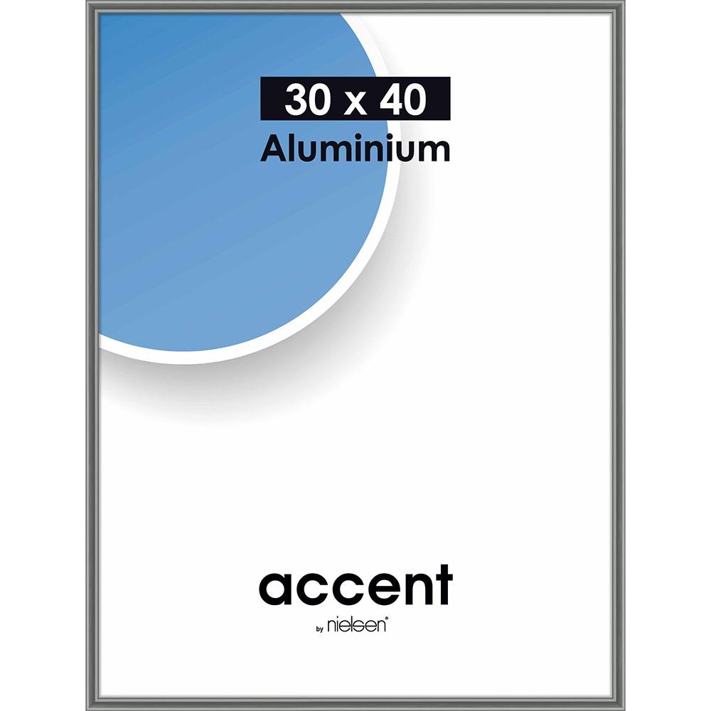 Cadre en aluminium Accent 30x40 cm | gris acier | verre normal