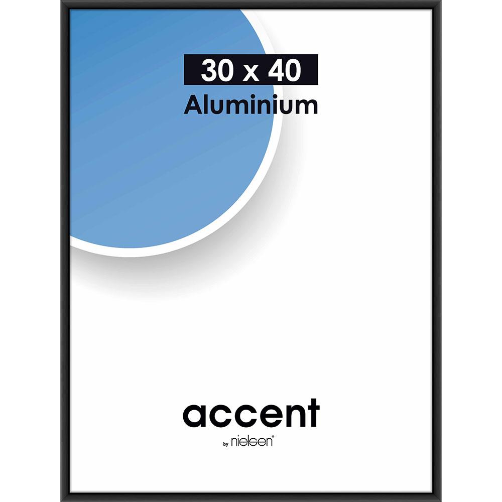 Cadre en aluminium Accent 30x40 cm | noir mat | verre normal