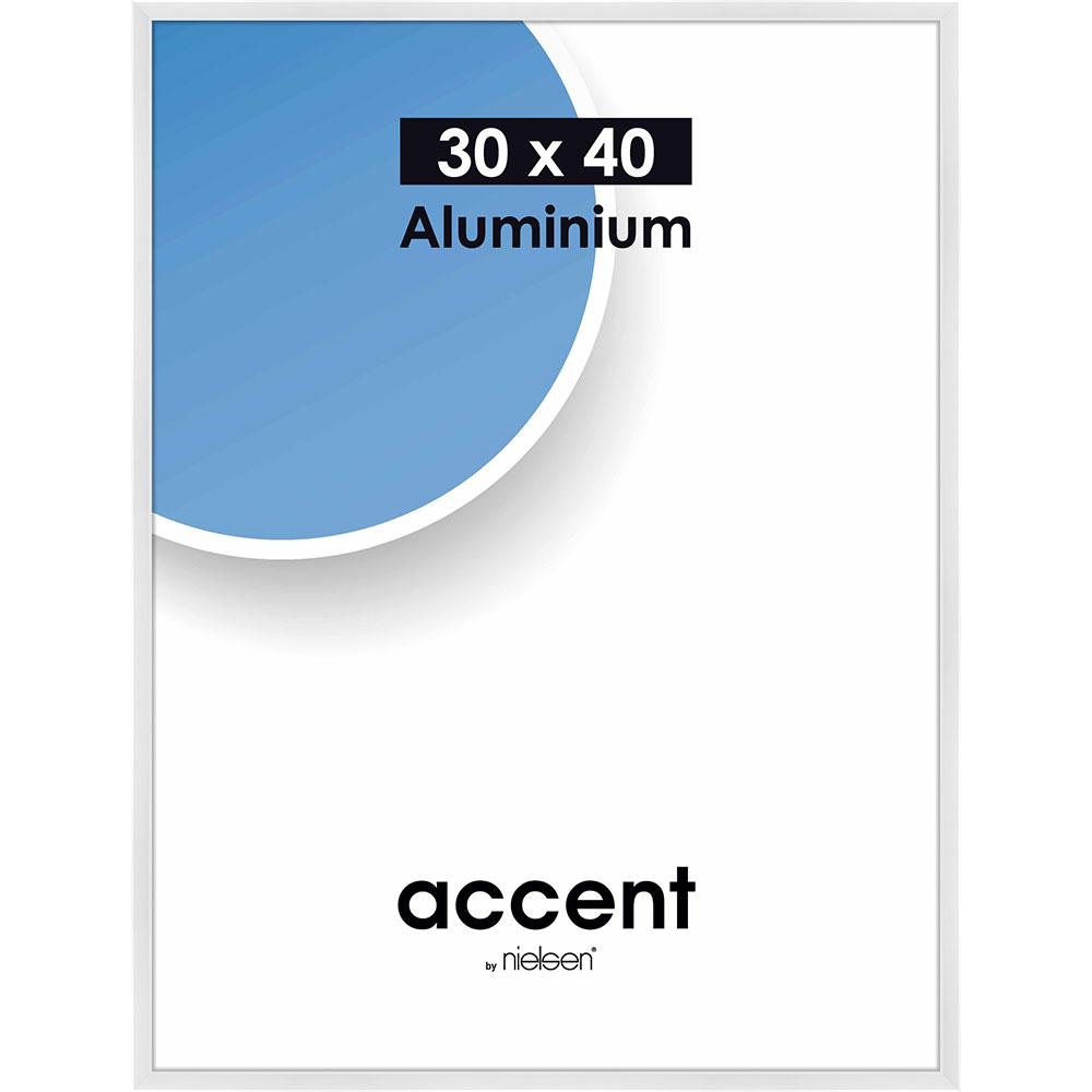 Cadre en aluminium Accent 30x40 cm | blanc brillant | verre normal