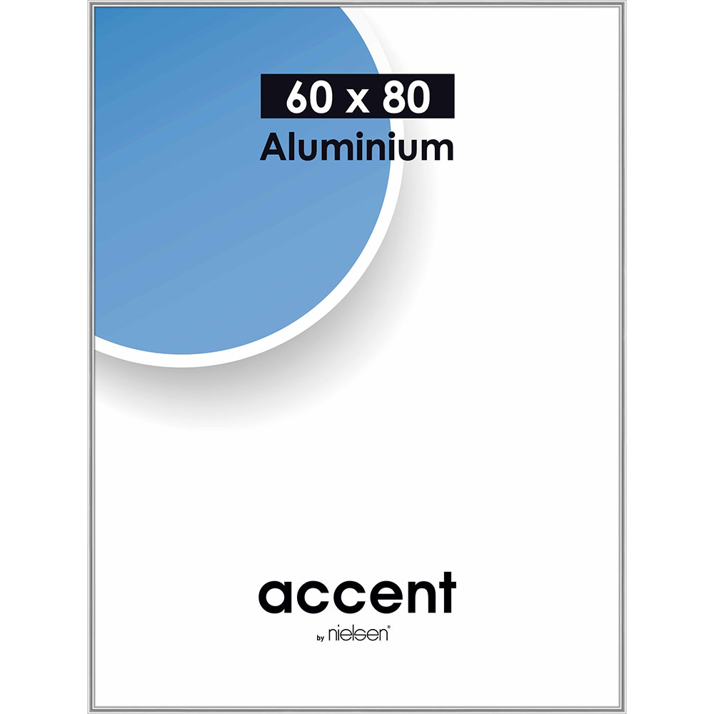 Cadre en aluminium Accent 60x80 cm | argent brillant | verre standard