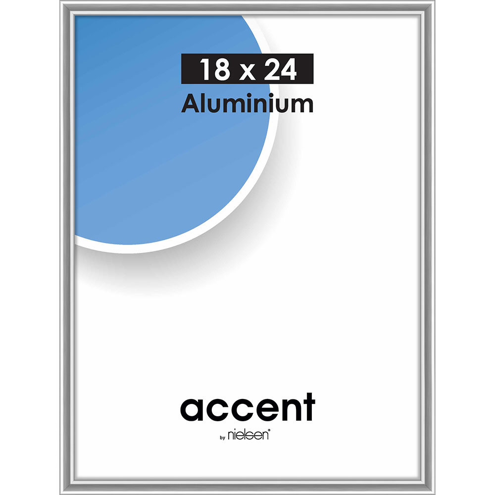 Cadre en aluminium Accent 18x24 cm | argentin brillant | verre normal