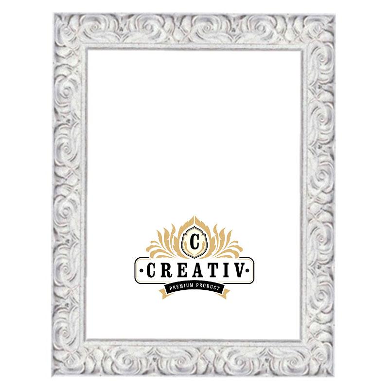 cadre baroque en bois massif Bologna sur mesure blanc | verre en acrylique antiflet et protection UV 100