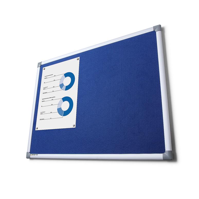 display tableau en li ge avec feutre 60x45 cm bleu. Black Bedroom Furniture Sets. Home Design Ideas
