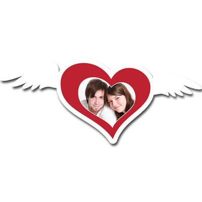 """Passe-partout avec motif """"coeur avec ailes"""""""