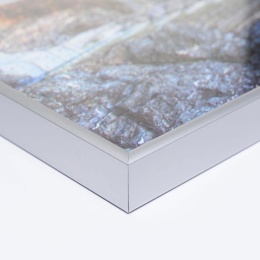 Cadre pour puzzles en aluminium pour 2000 pièces 67,2x90,2 cm (Jumbo) | argentin mat | verre artificiel