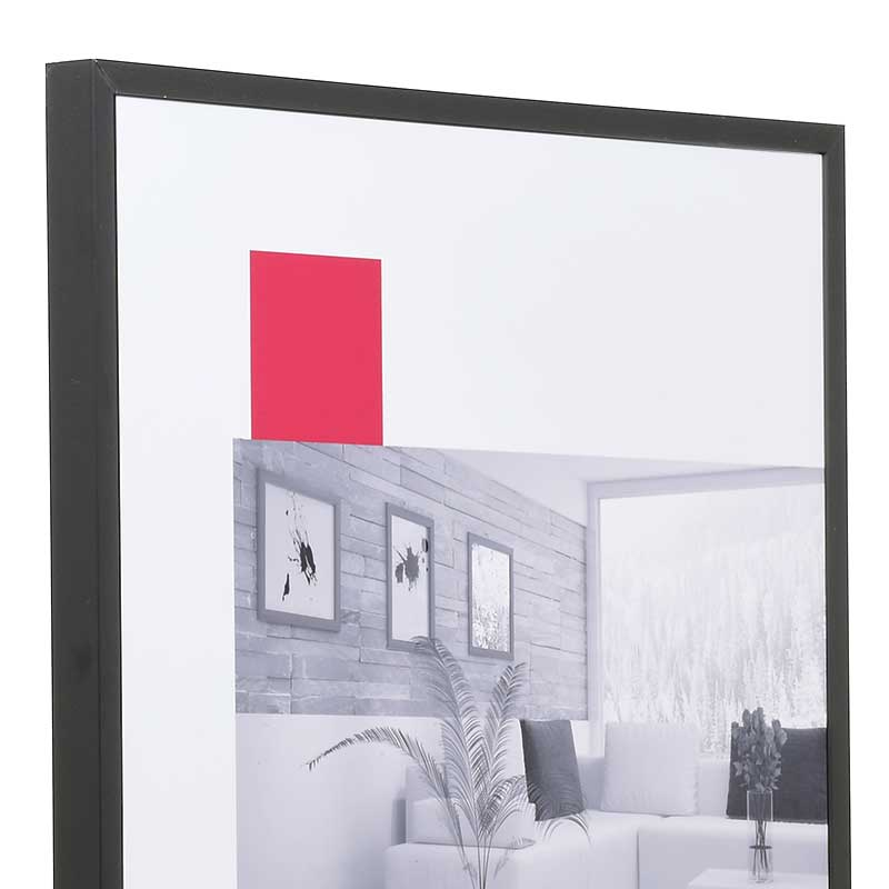 mira cadre en aluminium econ carr sur mesure noir mat verre antireflet. Black Bedroom Furniture Sets. Home Design Ideas