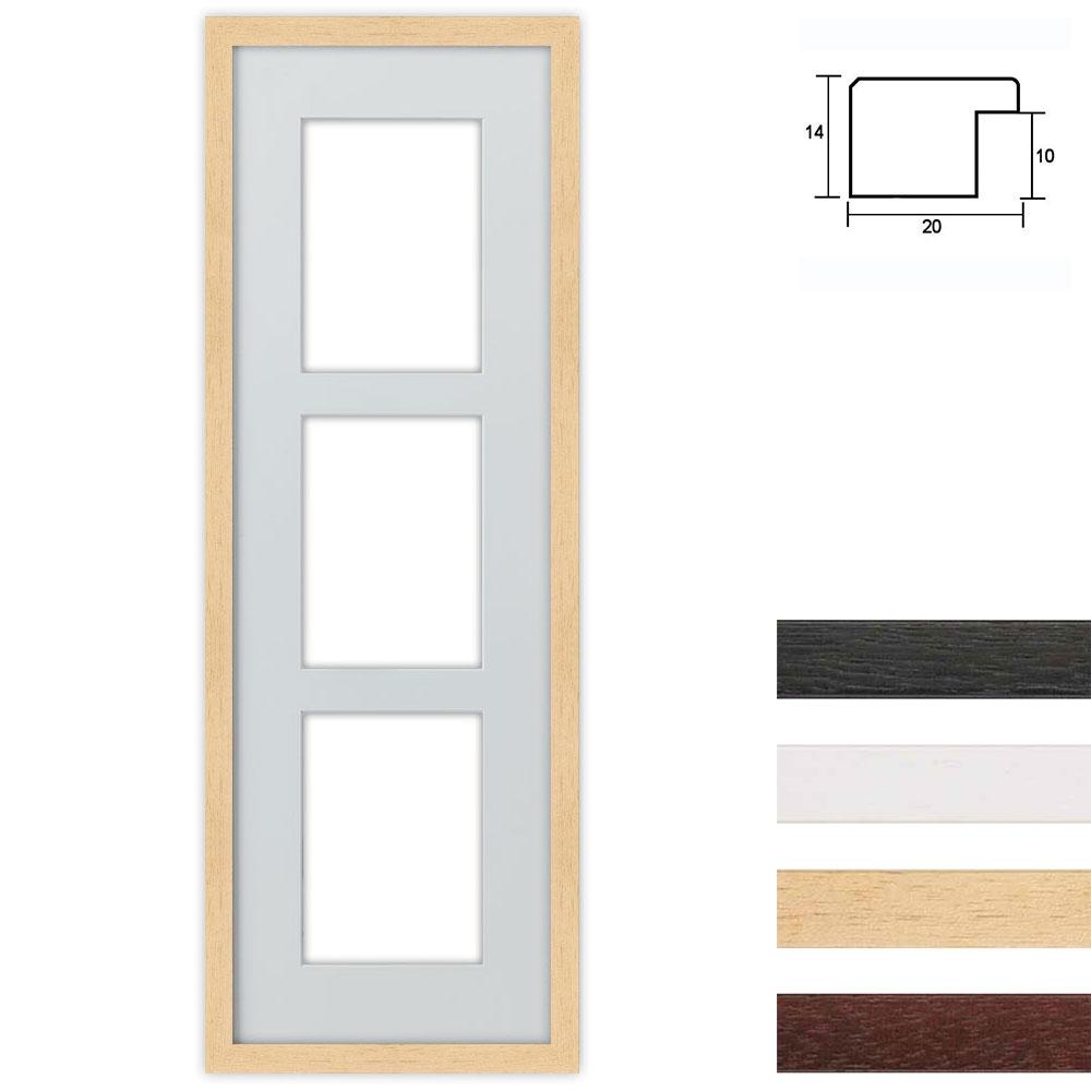 Cadre en bois avec passe-partout multiple à 3 ouvertures, 23x70 cm