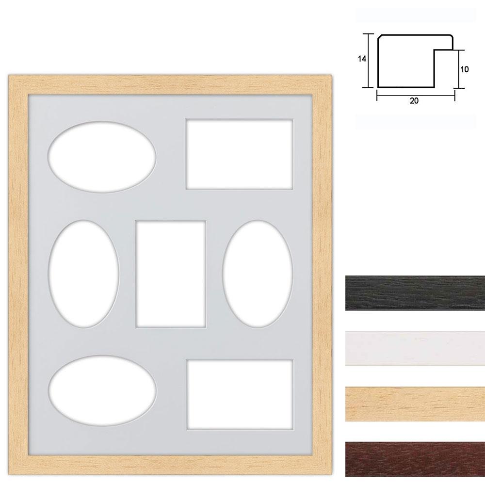 Cadre en bois avec passe-partout multiple à 7 ouvertures, 40x50 cm