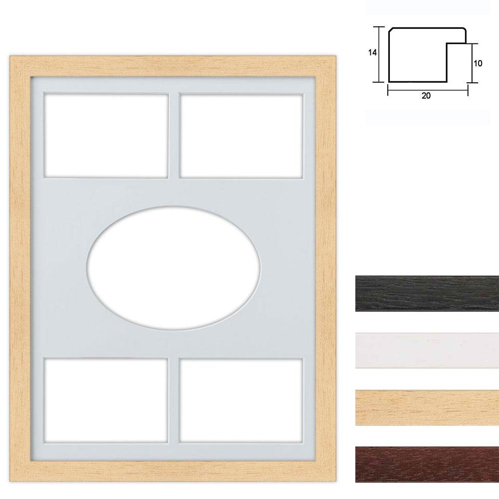 Cadre en bois avec passe-partout multiple à 5 ouvertures, 30x40 cm