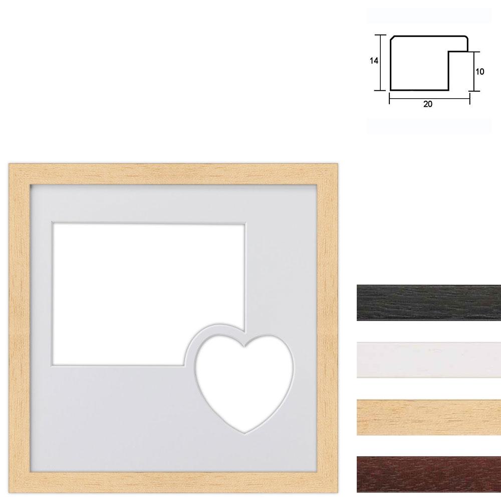 Cadre en bois avec passe-partout à 2 ouvertures en forme de cœur, 30x30 cm