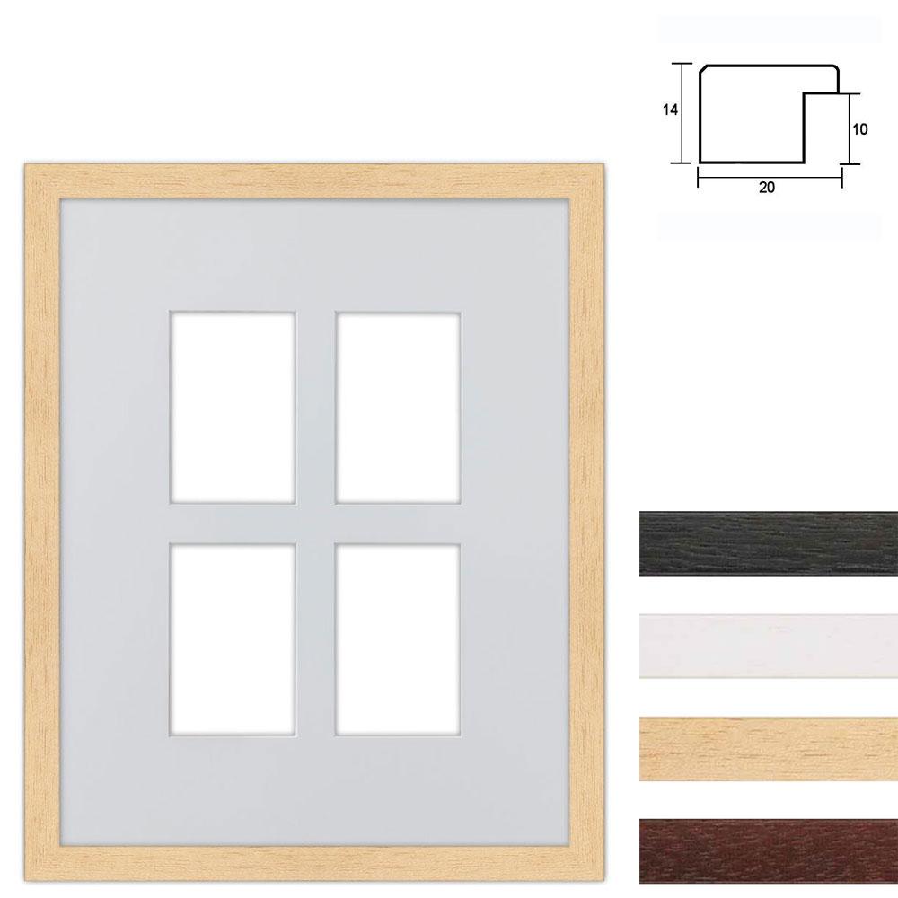 Cadre en bois avec passe-partout multiple à 4 ouvertures, 40x50 cm