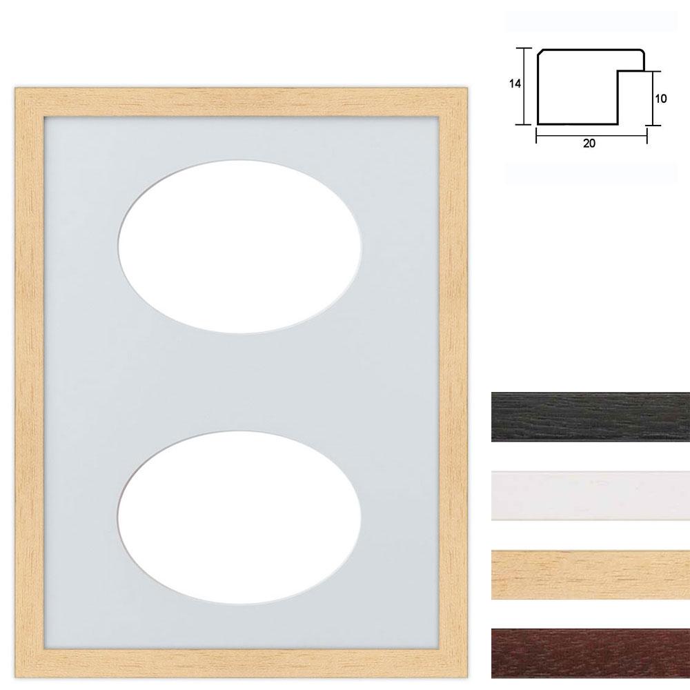 Cadre en bois avec passe-partout à 2 ouvertures ovales, 30x40 cm