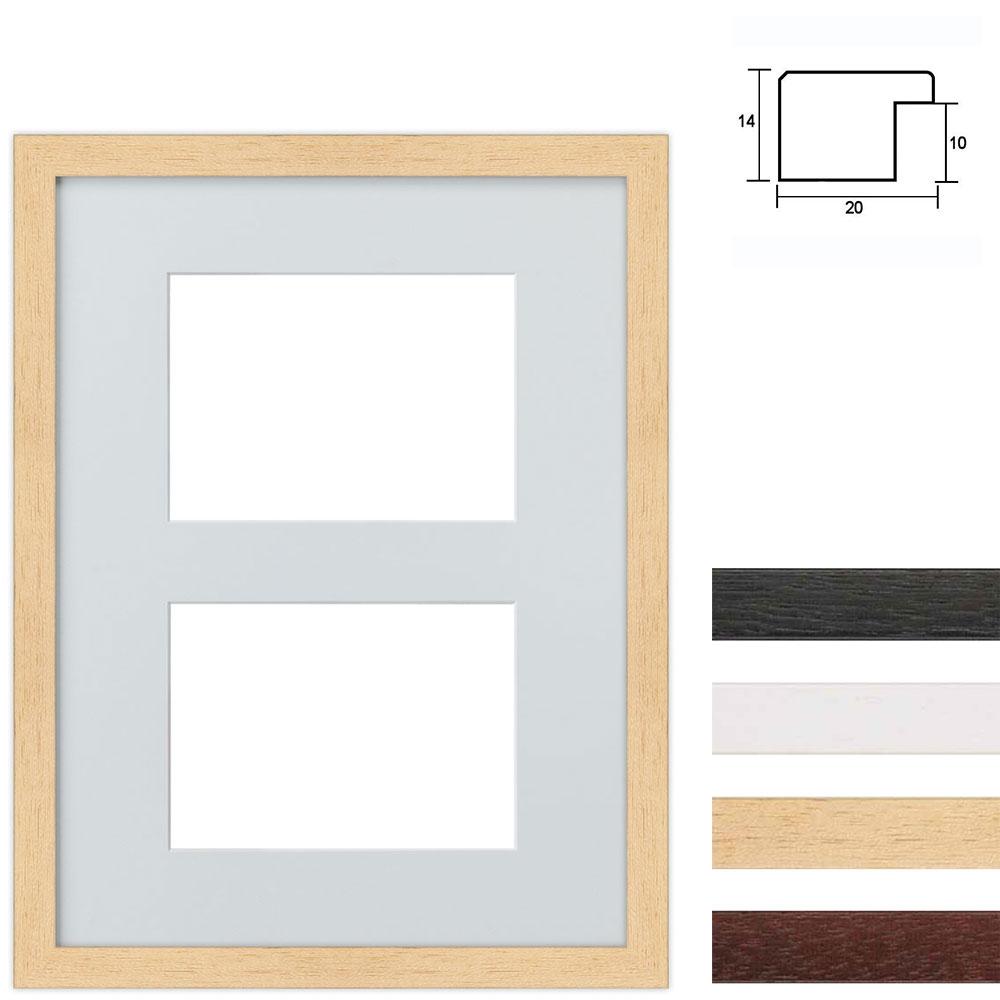 Cadre en bois avec passe-partout à 2 ouvertures, 30x40 cm