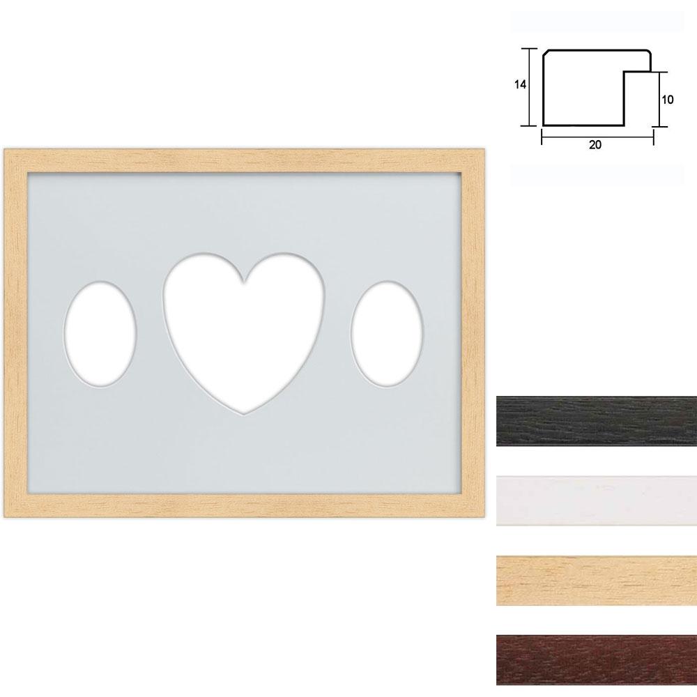 Cadre en bois avec passe-partout multiple à 3 ouvertures ovales et en forme de cœur, 30x40 cm