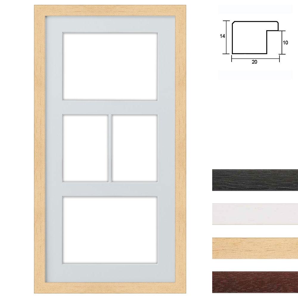 Cadre en bois avec passe-partout multiple à 4 ouvertures, 25x50 cm