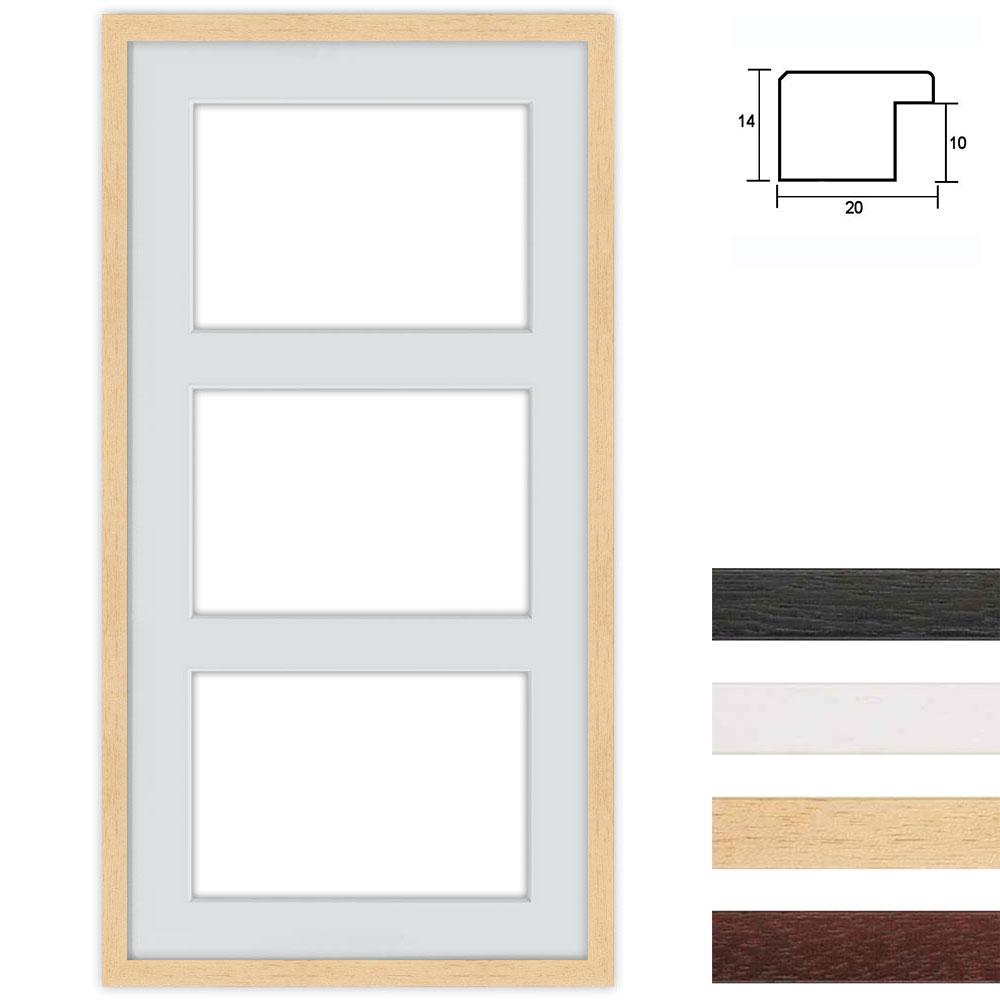 Cadre en bois avec passe-partout multiple à 3 ouvertures, 40x80 cm für DIN A4