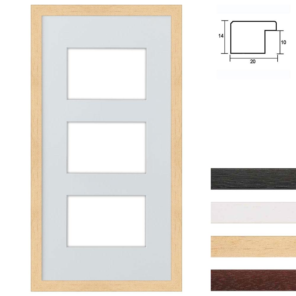 3er Cadre galerie en bois pour 3 photos 25x50 cm