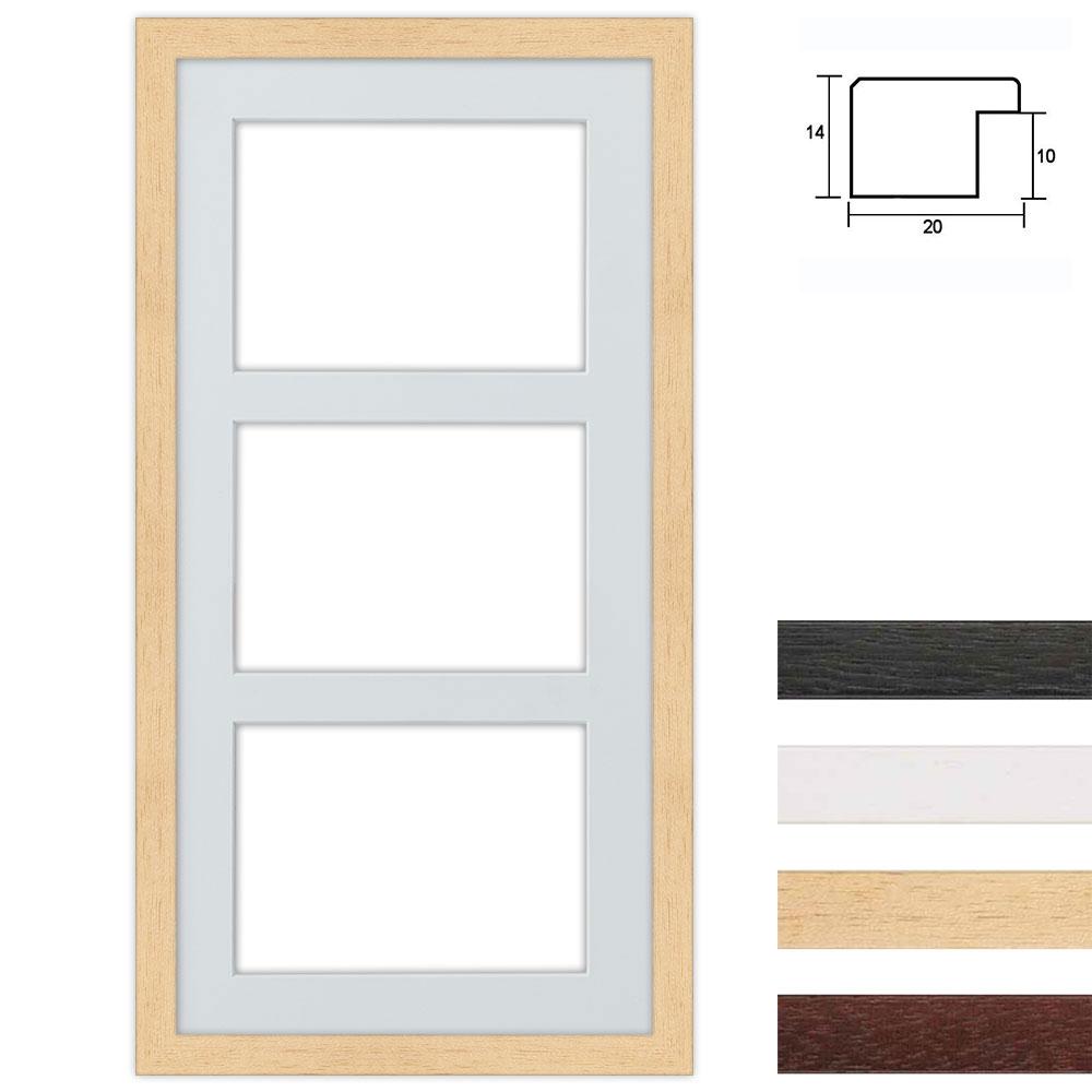 Cadre en bois avec passe-partout multiple à 3 ouvertures, 25x50 cm