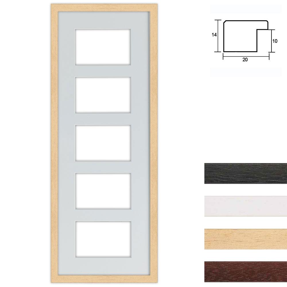 Cadre en bois avec passe-partout multiple à 5 ouvertures, 25x70 cm