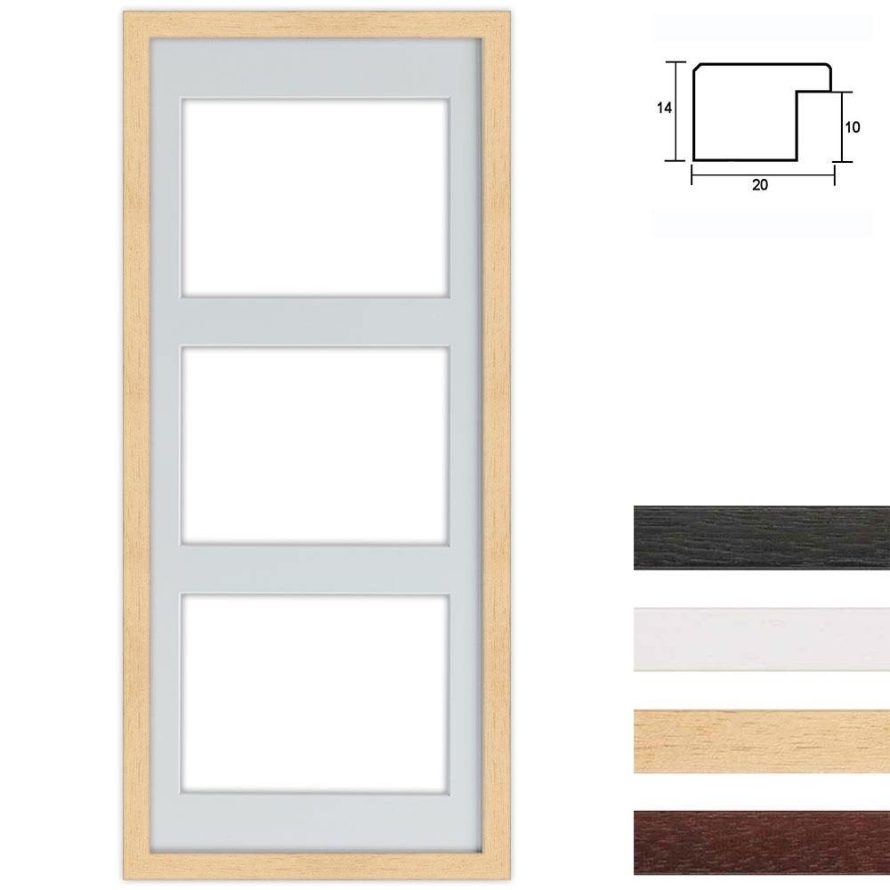 Cadre en bois avec passe-partout multiple à 3 ouvertures, 25x60 cm