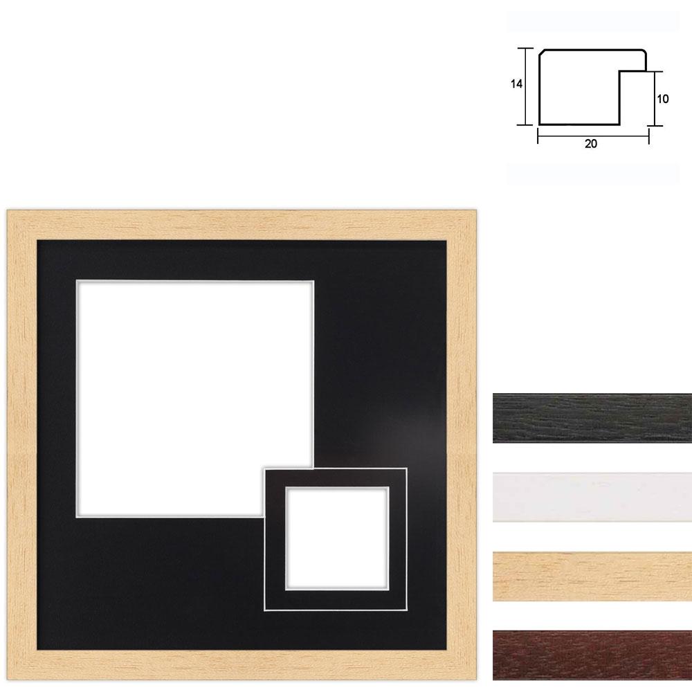 Cadre en bois avec passe-partout à 2 ouvertures, 30x30 cm