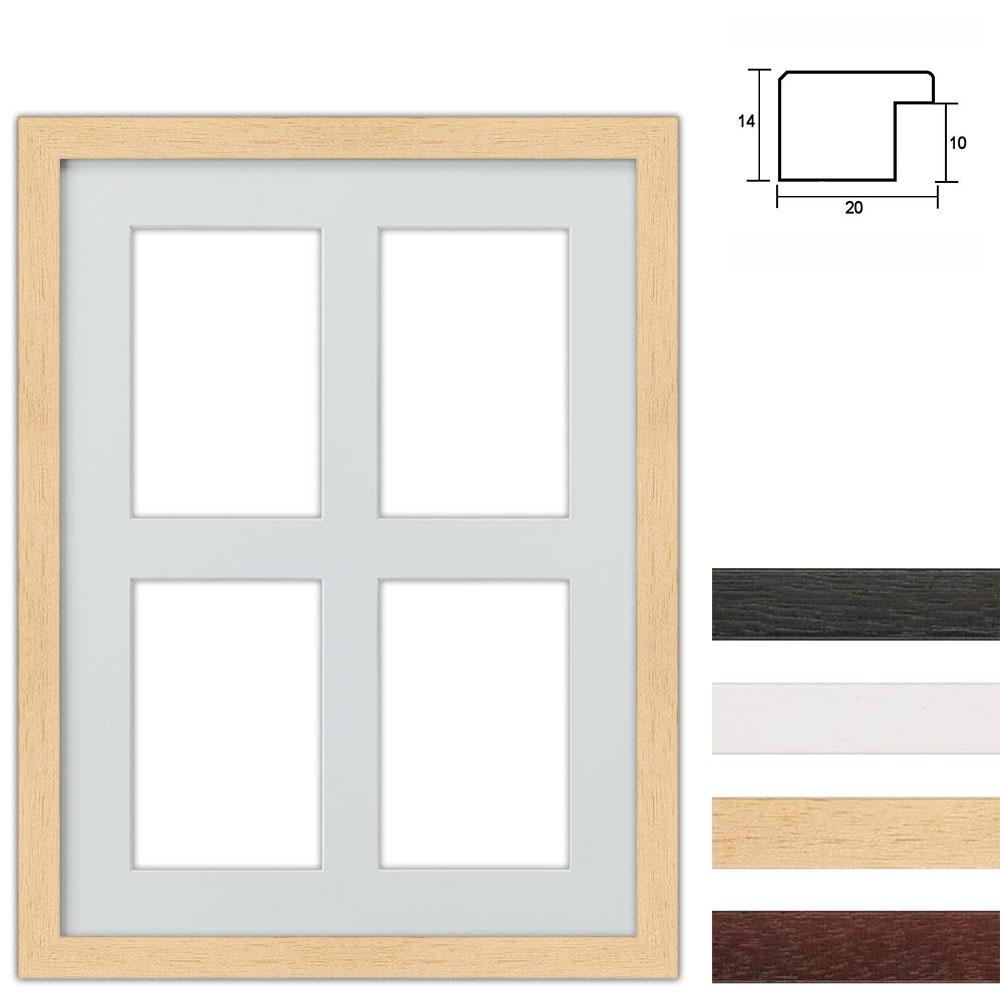 Cadre en bois avec passe-partout multiple à 4 ouvertures, 30x40 cm