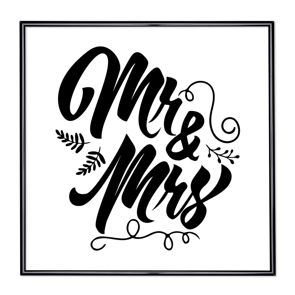Cadre avec slogan : Mr & Mrs