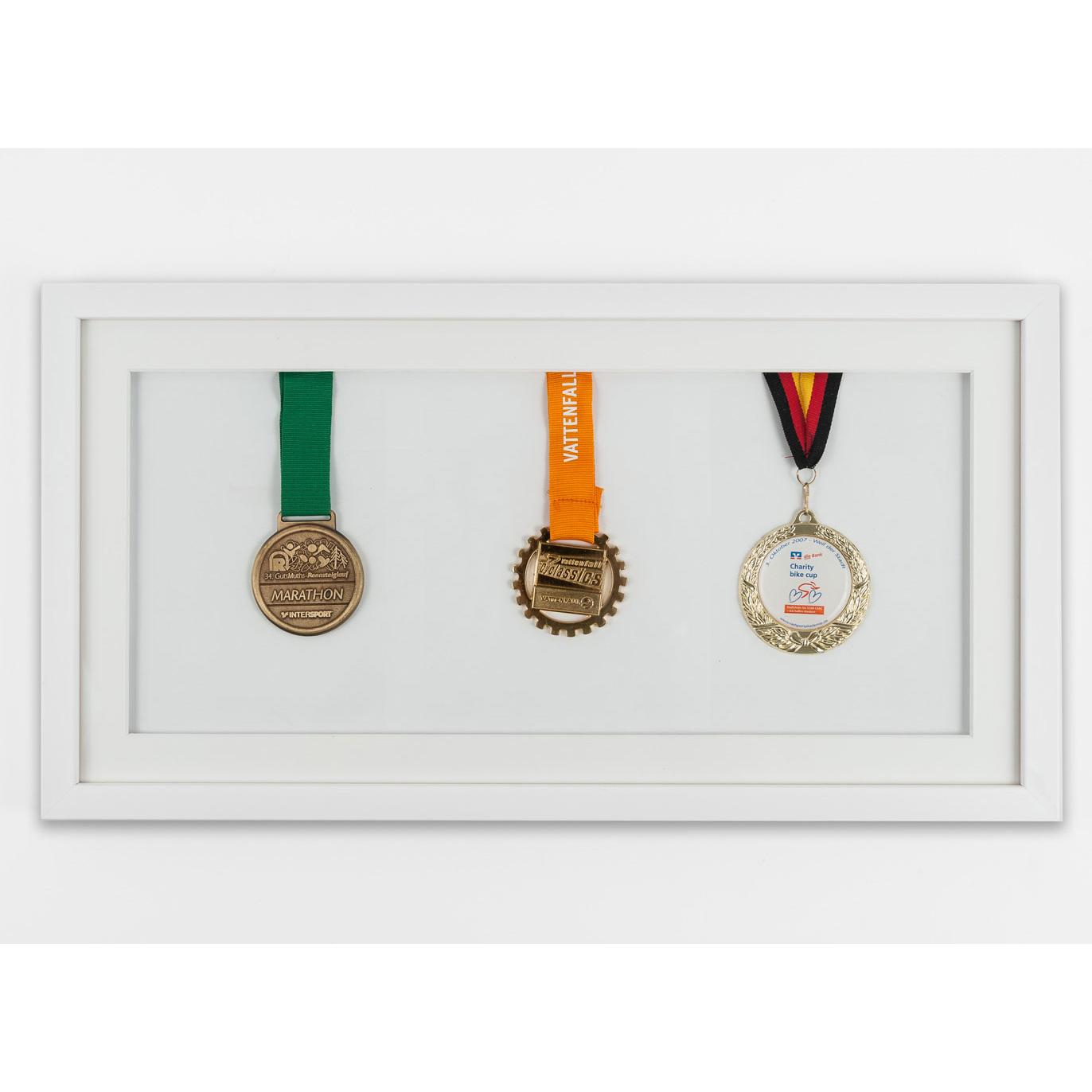 Cadre pour médailles 25x50 cm, blanc