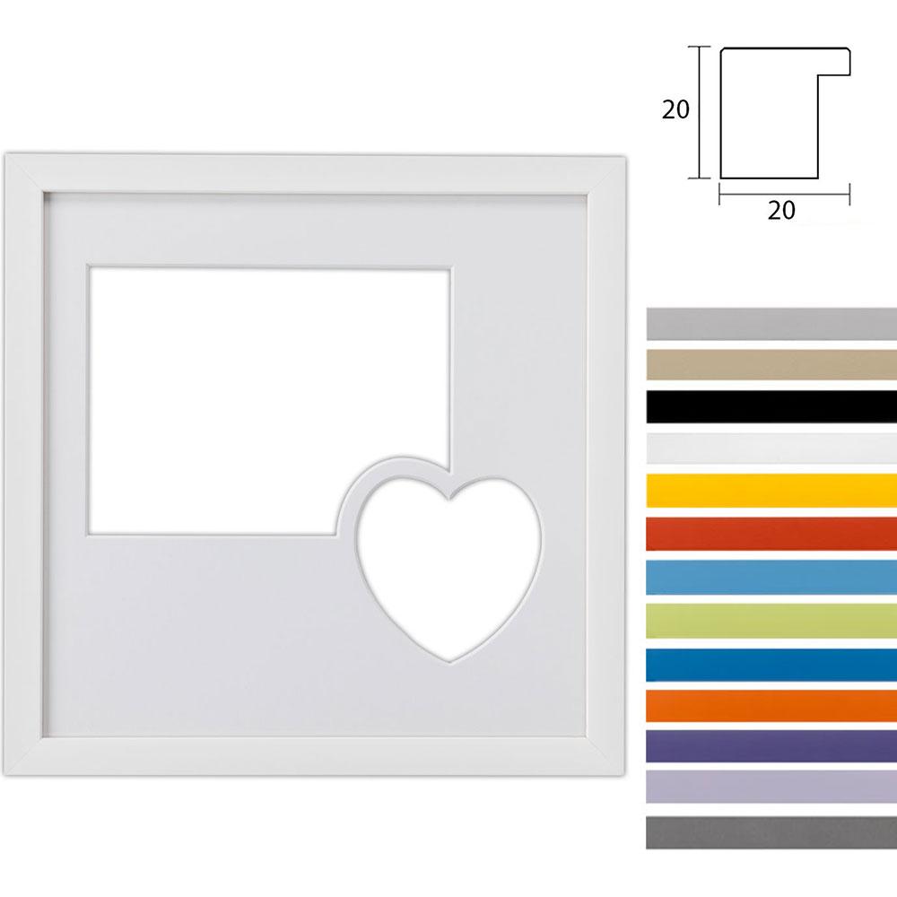 Cadre Top Cube avec passe-partout multiple avec ouverture paysage et cœur, 30x30 cm