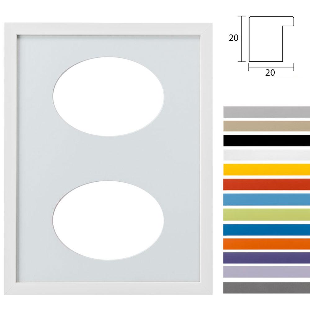 Cadre Top Cube avec passe-partout à 2 ouvertures ovales, 30x40 cm