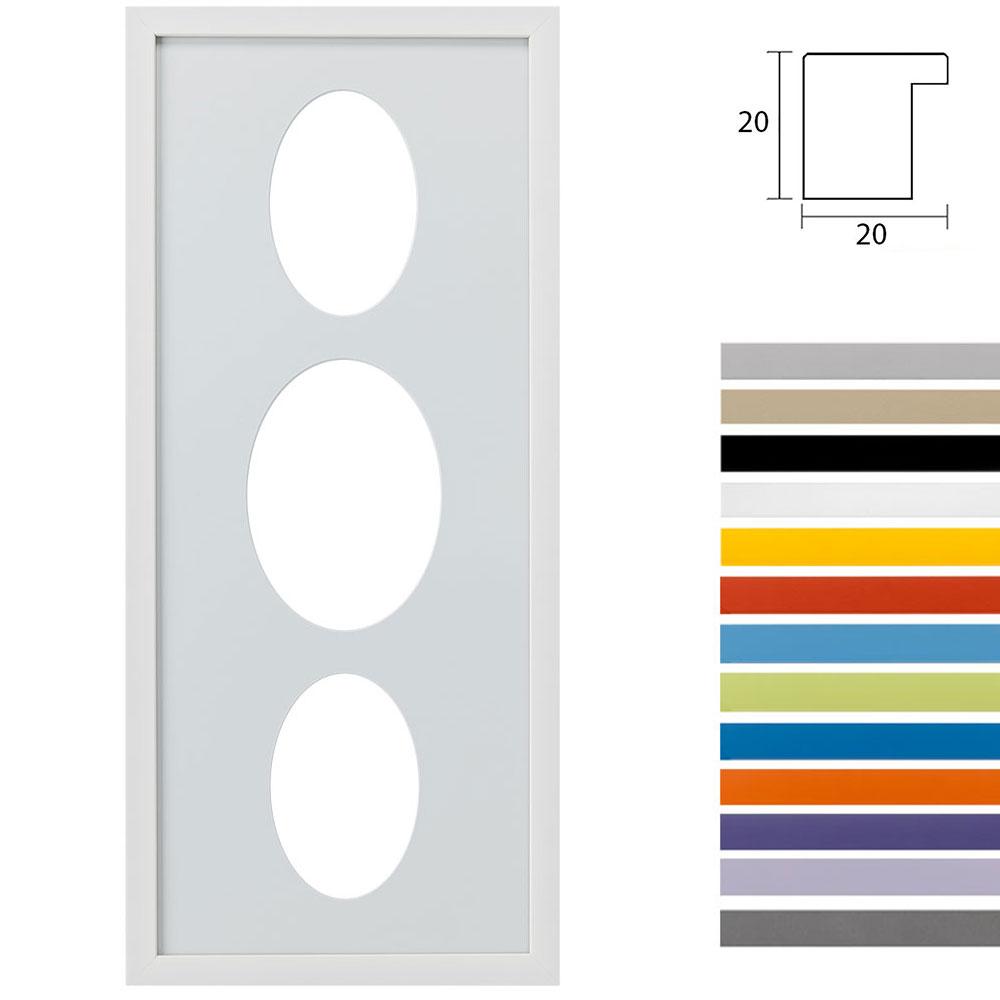 Cadre Top Cube avec passe-partout multiple avec 3 ouvertures ovales, 25x60 cm