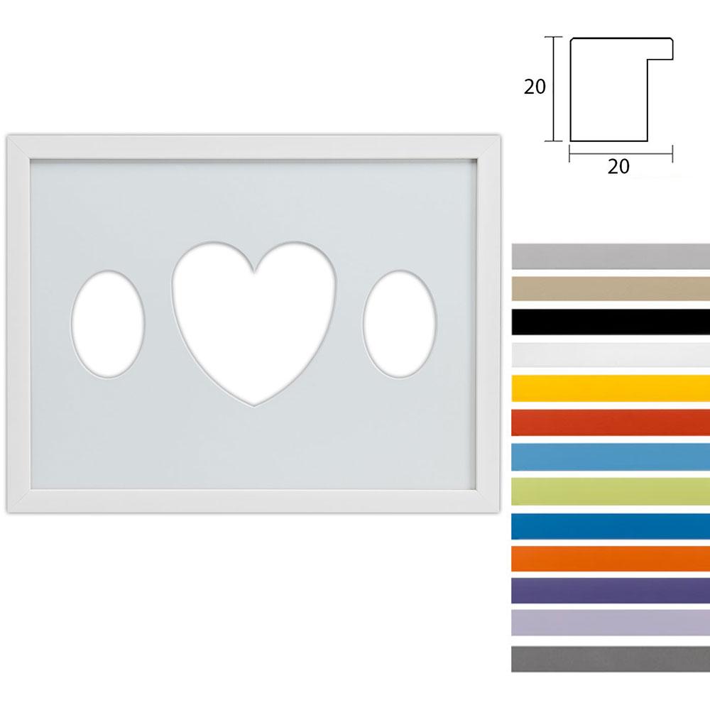 Cadre Top Cube avec passe-partout multiple avec ouvertures ovales et en forme de cœur, 30x40 cm