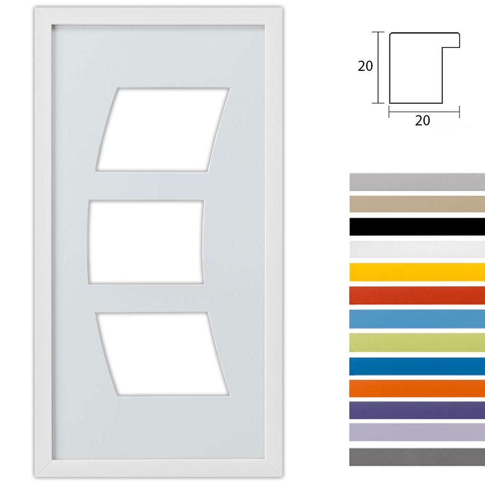 Cadre Top Cube avec passe-partout multiple avec 3 ouvertures en arc, 25x50 cm