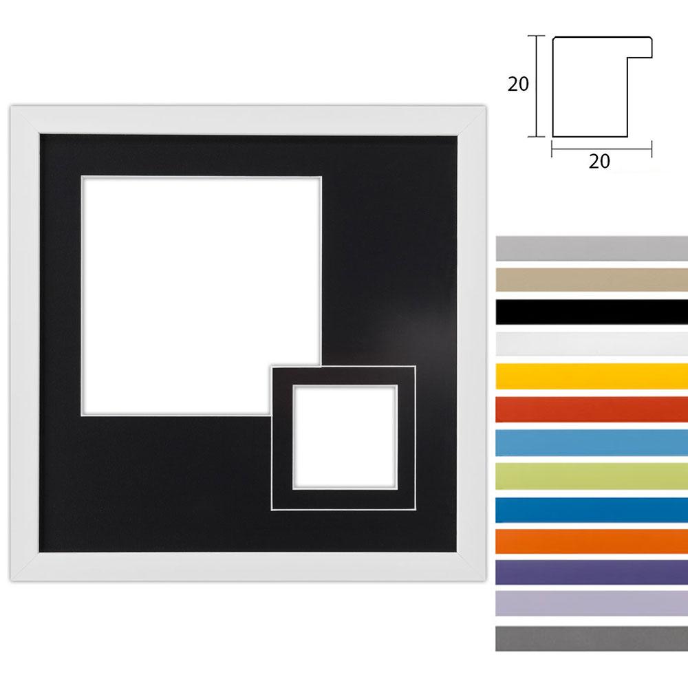 Cadre Top Cube avec passe-partout à 2 ouvertures, 30x30 cm