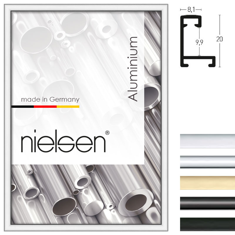 nielsen cadre en aluminium profil 8 21x29 7 cm a4 or. Black Bedroom Furniture Sets. Home Design Ideas