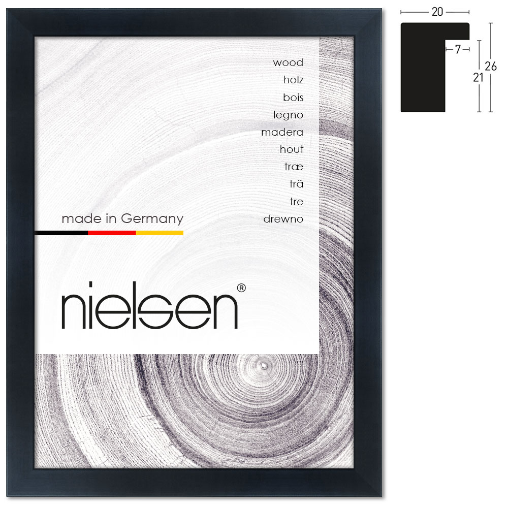 nielsen cadre en bois blackwoods 20x26 21x29 7 cm a4 noir cadre sans verre ni support. Black Bedroom Furniture Sets. Home Design Ideas
