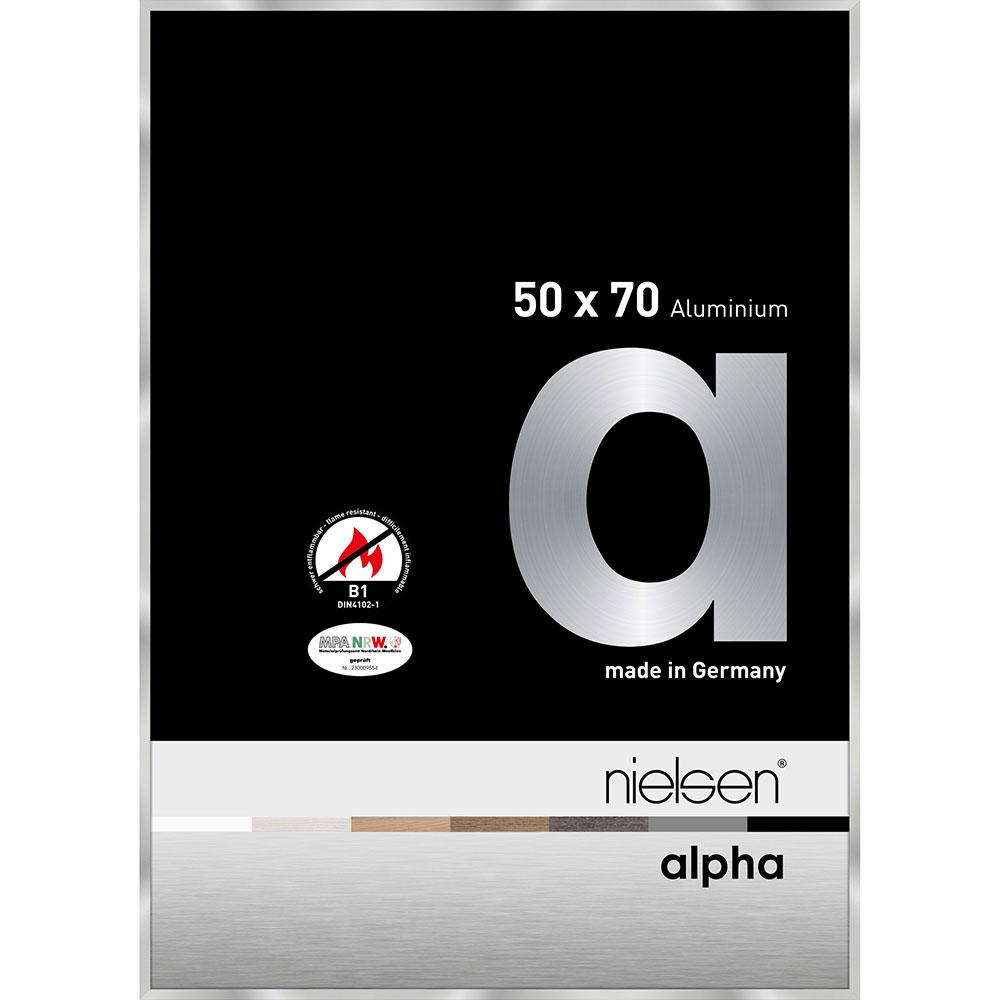Cadre protection feu B1 Alpha 50x70 cm   argent   verre standard