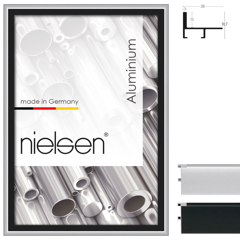 nielsen cadre joints creux profil 230 21x29 7 cm a4 argentin mat cadre sans verre ni. Black Bedroom Furniture Sets. Home Design Ideas
