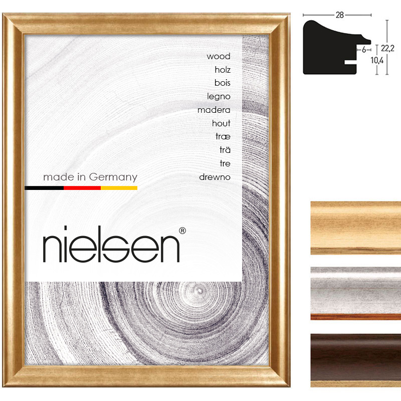 nielsen cadre en bois derby 28 21x29 7 cm a4 or verre normal. Black Bedroom Furniture Sets. Home Design Ideas
