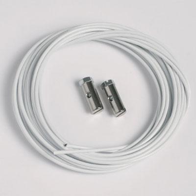 2 pièces corde en acier blanc 1,5mm/200cm avec planeurs à vis