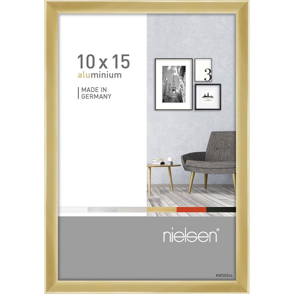 Cadre en aluminium Pixel 10x15 cm | or brillant | verre standard