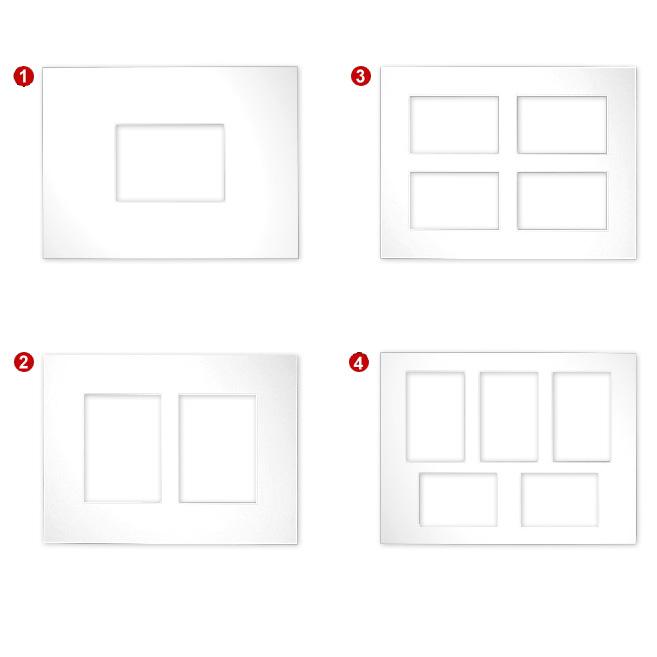 Passe-partout galeries 2,5 mm, taille extérieure 30x40 1) 30x40 cm (1x 13x18) | blanc ancien