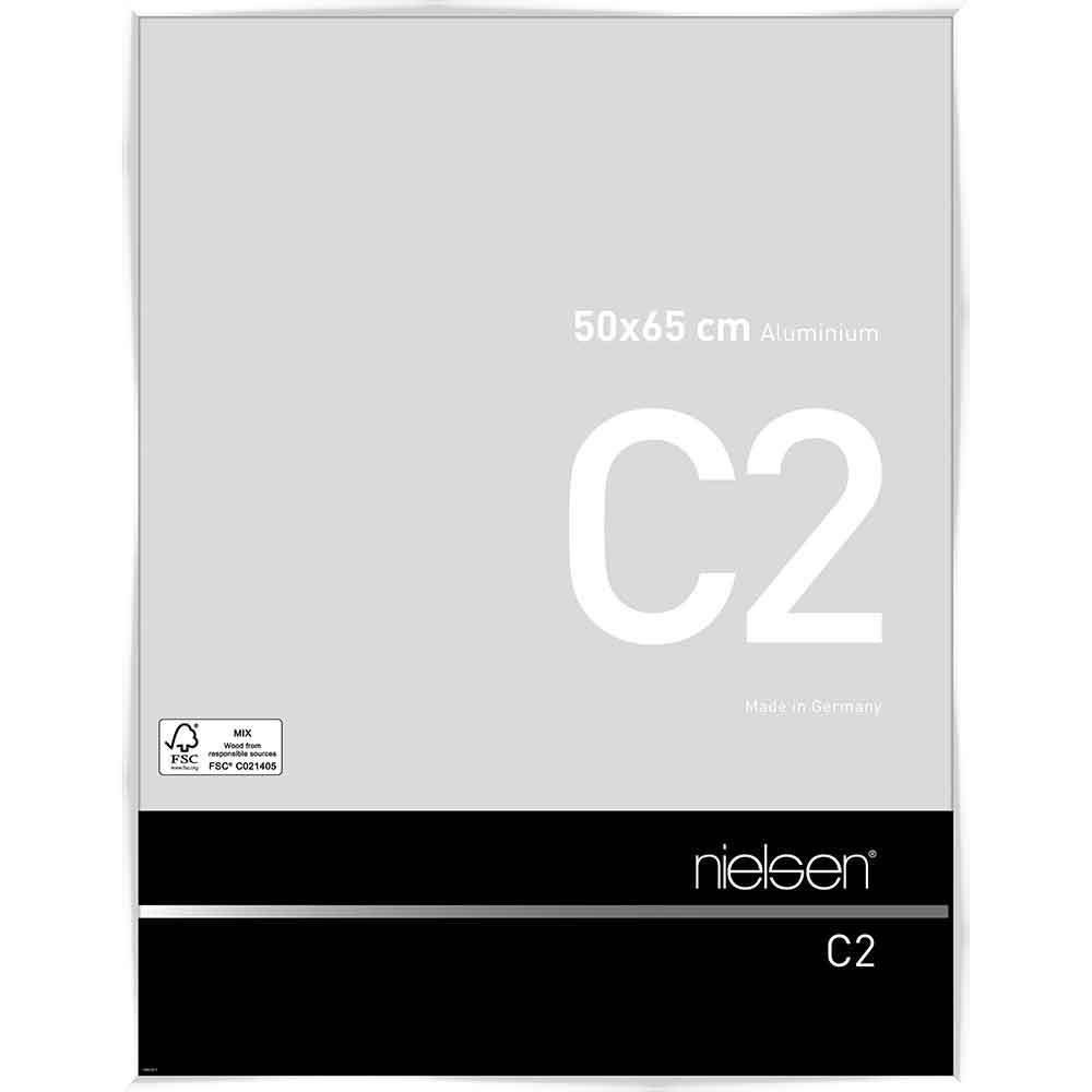 Cadre en aluminium C2 50x65 cm | blanc brillant | verre normal