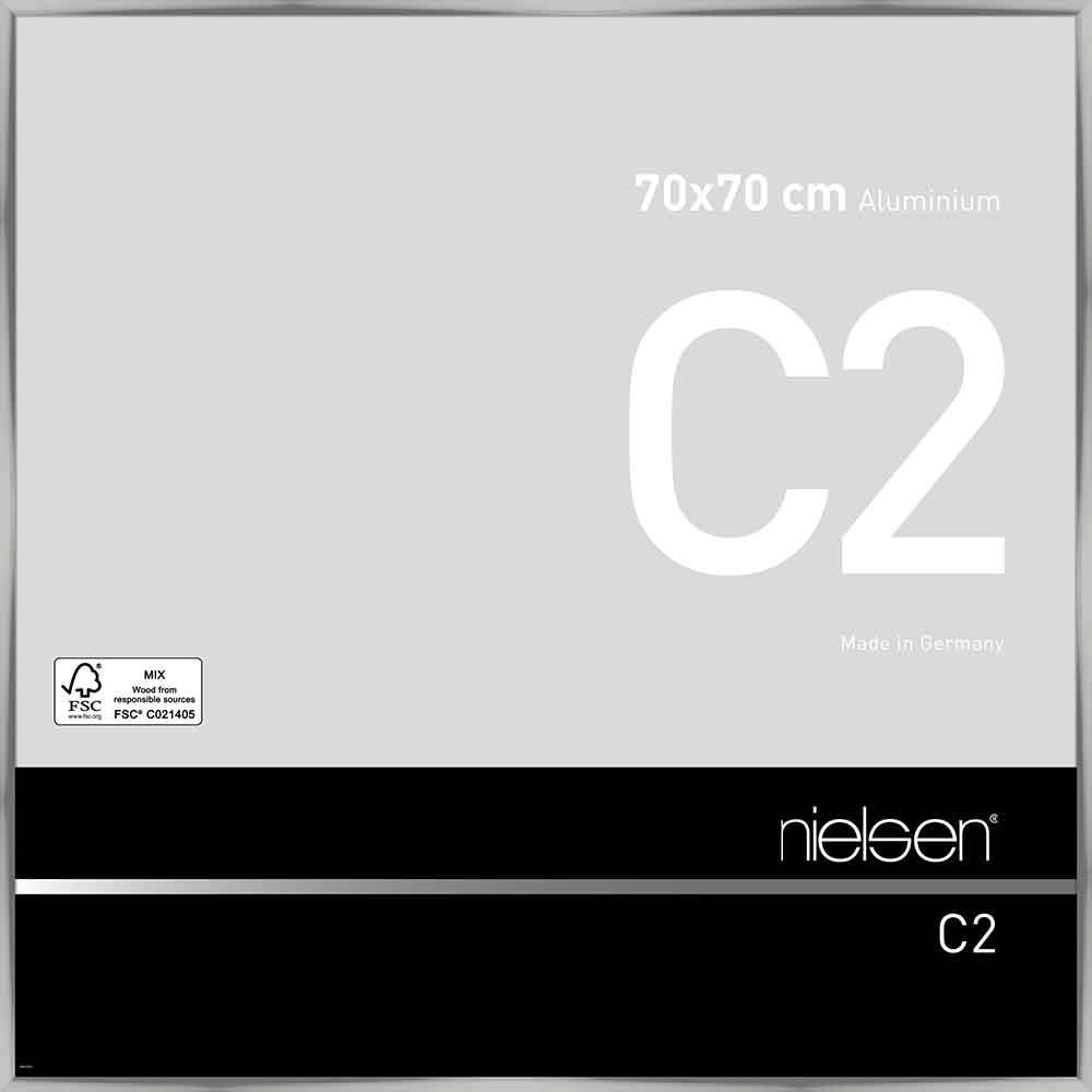 Cadre en aluminium C2 70x70 cm | argent brillant | verre standard
