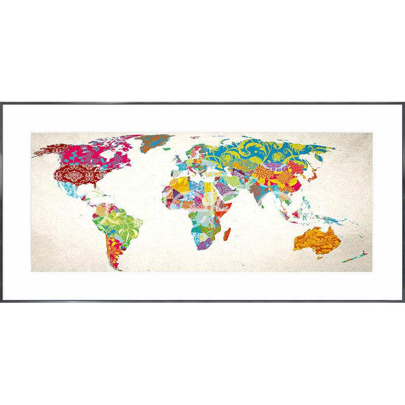 "Image encadrée ""World Map"" avec cadre en aluminium Alpha"