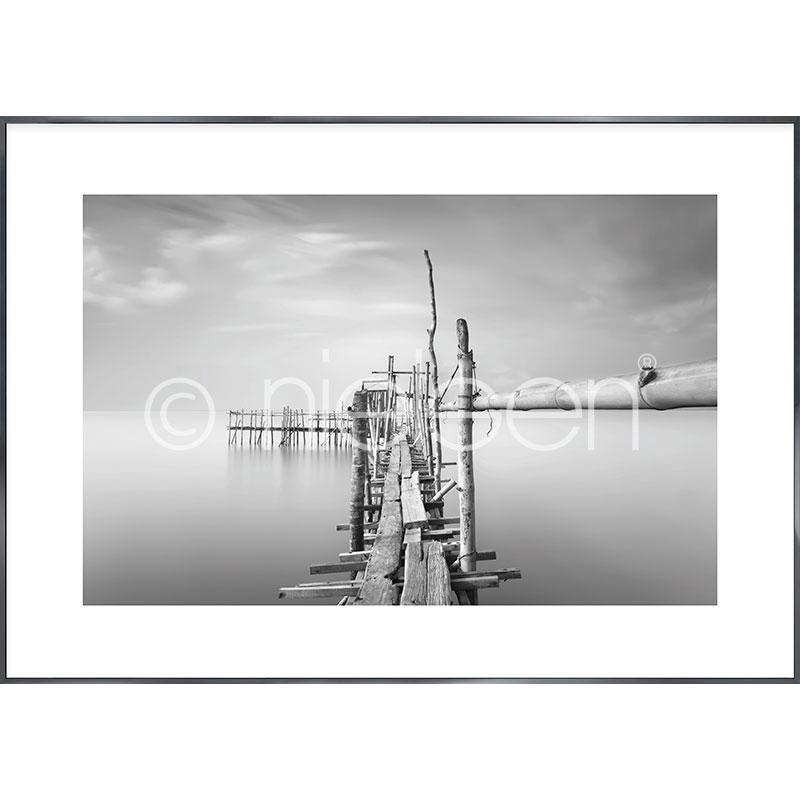"""Image encadrée """"Malaysian Fishing I"""" avec cadre en aluminium Alpha"""